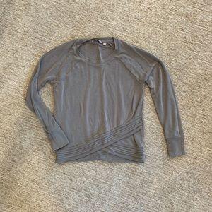 Athleta Serenity Grey Criss Cross Sweater
